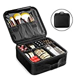 Yszbiay Travel Makeup Bag, Portable Train Cosmetic Bag for Women Organizer with DIY Adjustable Dividers for Large Professional Cosmetics Makeup Brushes Toiletry Jewelry Digital Accessories Black