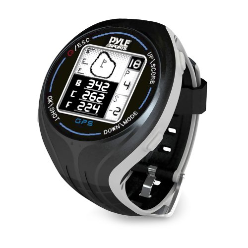 PYLE PSGF605BK GPS Smart Golf Watch with Course Recognition Green Locator Distance Calculator & Scoring System