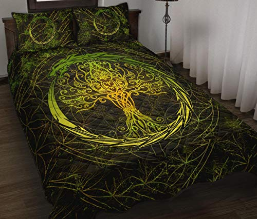 WINBACKING Celtic Quilt Bed Set Tree of Life and Dragon Circle Bedding Set 3 Pieces Quilt Cover with Pillowcase Cover Soft Comfortable for Kids Parents US Twin Queen King Size