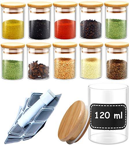 Praknu Gewürzgläser Set - 10 Glas Dosen mit 10 Etiketten - 120ml - Luftdicht - Spülmaschinenfest