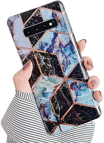 Herbests Kompatibel mit Samsung Galaxy S10e Hülle Silikon Weich TPU Handyhülle Glitzer Glänzend Marmor Muster Ultra Dünn Schutzhülle Marble Case Kratzfeste Stoßfest Tasche,Schwarz Lila