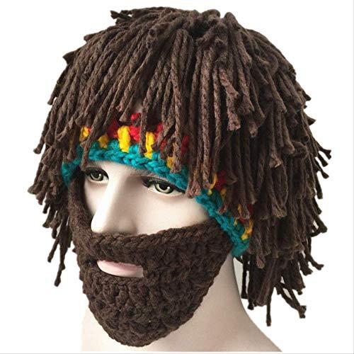 Sombrero de novedad Peluca hecha a mano de invierno Sombreros de barba Crochet Bigote Tejido de Halloween Gorras de fiesta divertidas Unisex Borla de lana Máscara de esquí Bonnet