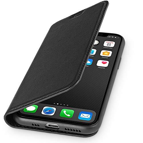 WIIUKA Echt Ledertasche - TRAVEL - Hülle für Apple iPhone 11, mit Kartenfach, extra Dünn, Tasche Schwarz, Premium Leder, kompatibel mit iPhone 11
