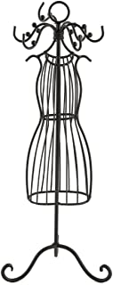Mardel Wire Dress Form Jewelry Stand, Metal, Black, 14 x 14-1/2 Inches