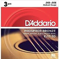 D'Addario EJ17/3D アコースティックギター弦 Medium 3セットパック (ダダリオ)