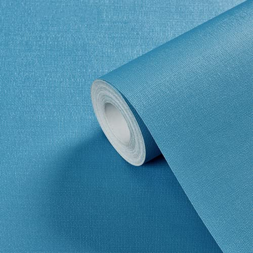 GoolCoinKit Rollo de pegatinas de pared de papel de contacto con adhesivo azul, a prueba de aceite, papel pintado extraíble para dormitorio, pared, muebles, juego de artículos divertidos de 24 × 50 cm