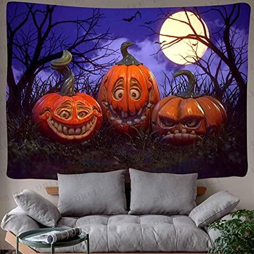 rzskdjgv Feliz Fiesta De Halloween Decoración Tapiz Calabaza Lámpara Arte Tapices para Colgar En La Pared para Sala De Estar Decoración del Hogar Banner 240X260Cm