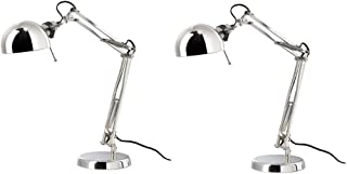 IKEA - FORSÅ Work Lamp, Nickel Plated with LED Bulb - Set of 2