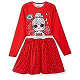 L O L Surprise! Vestido para Niñas, Falda de Tul Tutú de Ballet Brillante en 3D, Vestido de Manga Larga Princesa, Diseño Muñeca LOL de Navidad, Regalo para Niñas! 3 a 10 Años (7/8 Años)
