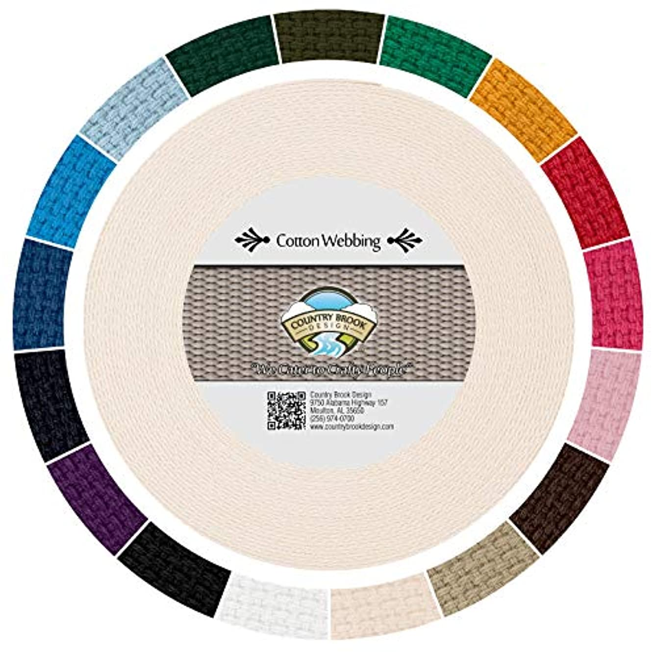 Country Brook Design | Heavy Cotton Webbing with 17 Vibrant Color Options (1 Inch) (25 Yards, Natural)