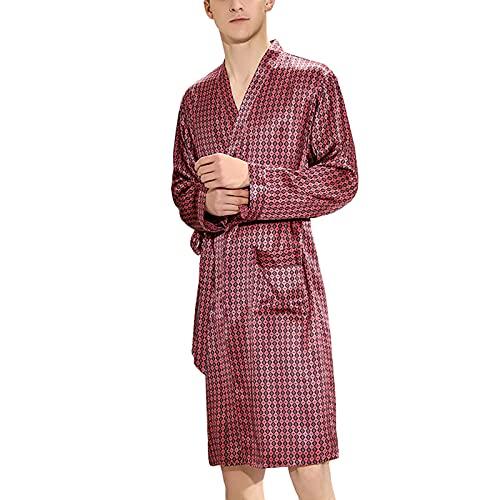 Camicia da Notte di Seta da Uomo Pigiama Estivo Plus Size Pjs Accappatoio di Seta di Gelso Accappatoio A Maniche Lunghe...