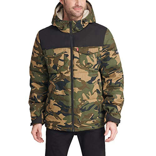 Levi's Men's Heavyweight Mid-Length Hooded Military Puffer Jacket, Camouflage/Black, Large