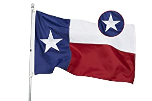 State of Texas 3x5 Feet Flag - Embroidered Sewn Heavyweight 210D Oxford Nylon Flag Vivid Color - Brass Grommets and 4 Stitch Hemming USA Flag