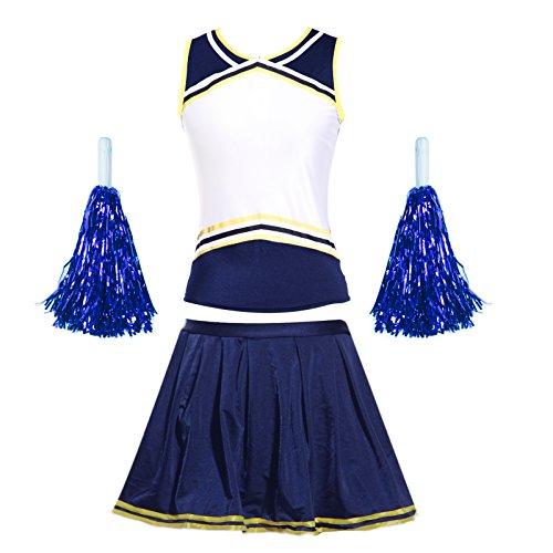 Cheerleader-Uniform, personalisierbar mit Logo-Druck vorne, Cheerleader-Kostüm, mit Slip und Pompons, blau + gelb