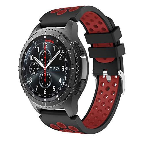 CSVK Kompatibel mit Armband Gear S3 Frontier/Classic 22mm Ersatz Uhrenarmband Silikon Sportarmband for Galaxy Watch 46mm/Moto 360 2nd Gen 46mm(schwarz-rot)