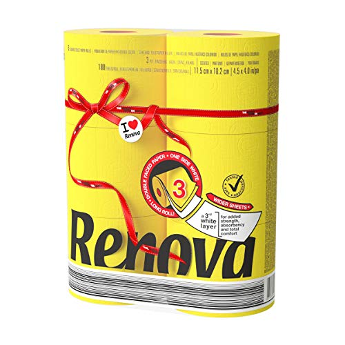 Renova Luxury Scented Colored Toilet Paper 6 Jumbo Rolls 3-Ply-180 Sheets (Yellow)