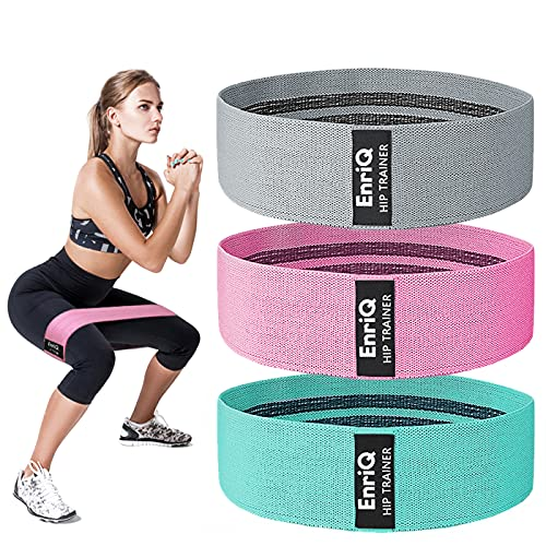 EnriQ Booty Bands Fabric Resistance Bands for Legs and Butt - Non Slip Cloth Hip Bands Elastic Workout Bands - Activate Glutes and Thighs - Made of Premium Elastic Fabric (Grey, Pink, Pale Turquoise)