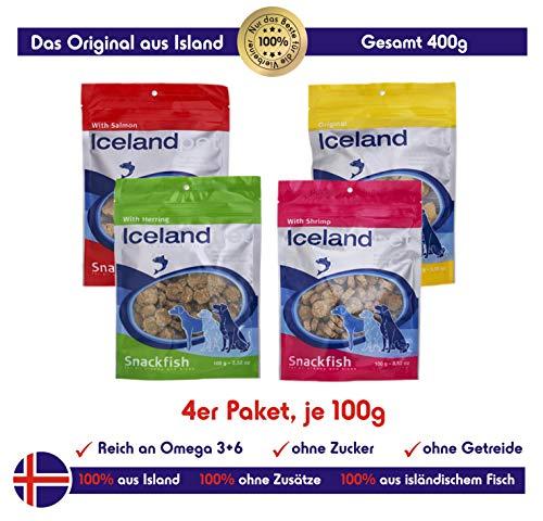 Icelandpet Hunde Leckerlis aus 100% isländischem Fisch | Zuckerfrei, Getreidefrei, reich an Omega 3 | 4 x 100g Tüten Hundesnack, Lachs, Garnele, Herring, Weissfisch