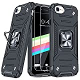 """JAME Case for iPhone SE 2020 Case with Screen Protector 2Pcs, for iPhone 8 Case, for iPhone 7/6s/6 Case, Military-Grade Protection, Protective Phone Cases, Ring Kickstand Shockproof Case 4.7""""Black"""
