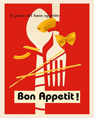 """Pasta Spaghetti Bon Appetit Great Italian Italy Fine Food 24"""" X 30"""" Image Size SHIPPED ROLLED Vintage Poster Reproduction we have other sizes available"""