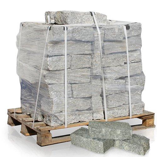 GALAMIO Granitmauerstein Granit Bord Rand Kante Palisade Stein Gehweg Straße Natur Steine Grau 40 x 20 x 10cm 1.000kg / 1 Palette Paligo