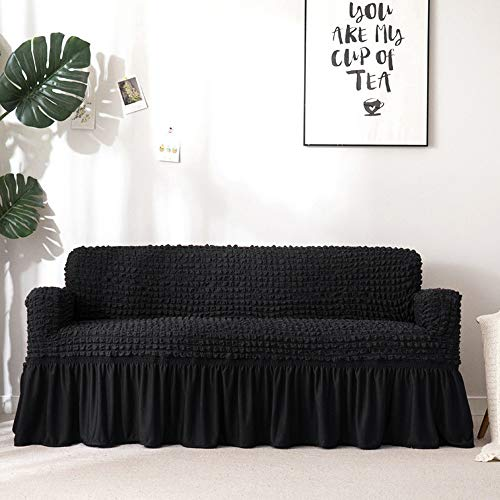 Boshen 3D Bubble Lattice Elegant Stretch Sofa Cover Loveseat Cover Couch Cover Spandex Elastic Sofa Slipcover Protector with Skirt 1 2 3 4 Seater