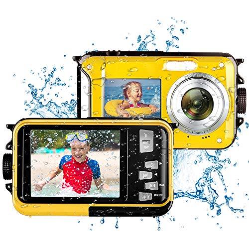 Camara Acuatica Camara de Fotos Acuatica Full HD 2.7K 48MP Camara Sumergibles Resistente al Agua para Esnórquel 16X Zoom Digital Camara Fotos Acuatica Selfie Pantalla Dual