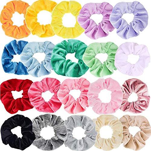 Eposeedor Hair Scrunchies Terciopelo Lazo Elástico, 20PCS Coleteros Pelo Mujer Velvet de Colores Gomas de Pelo