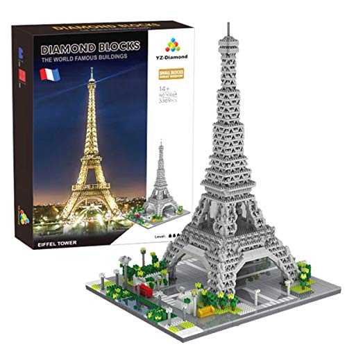 World Famous Architecture Model Set Eiffel Tower Micro Mini Blocks Eiffel Tower Building Blocks Set 3369Pcs Toys Gifts for Kid and Adult