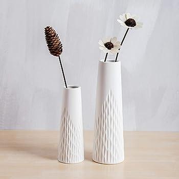 YHOMBES 花瓶 白 小さい フラワーベース 北欧 花瓶 陶器 白 シンプル 一輪挿し インテリア 陶器花器セラミック おしゃれ 生け花 和風花瓶 ホワイト プレゼント ギフト【波】高さ19cm