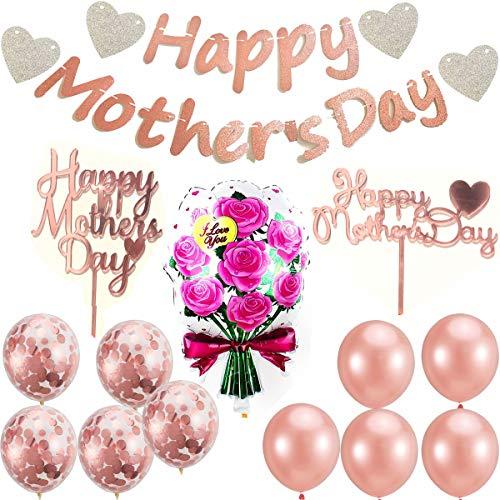 Oro Rose Happy Mothers Day - Guirnalda decorativa para el Día de la Madre, 2 decoraciones de tartas de oro rosa, 1 globo de flores de aluminio, 10 globos de látex