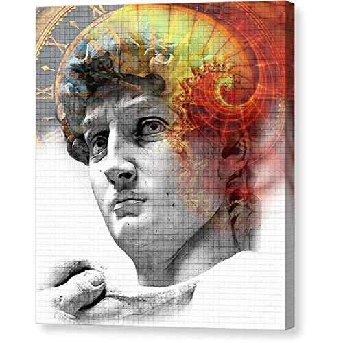 wZUN Decoración del hogar Pintura de Lienzo Vintage Reloj Romano Imagen Mural Estatua Póster de impresión HD 60x80cm Sin Marco