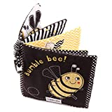 Amycute Crinkle Baby Cloth Books for Babies Toddlers, Nontoxic Soft Fabric Baby Educational Learning Toy Books for 0 - 6 Months/One Years Old Birthday Party (Bumble Bee)