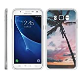 TurtleArmor | Compatible with Samsung Galaxy J7 Case | J700 (2015) [Flexible Armor] Flexible Slim Fitted TPU Bumper Case Cover - Palm Tree Sunset