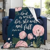 ARTIEMASTER Hope Faith Prayer Bible-Psalm 46:5 Blanket,Flannel Throw Blanket Ultra Soft Micro Fleece Blanket Bed Couch Living Room 50x40 Inch