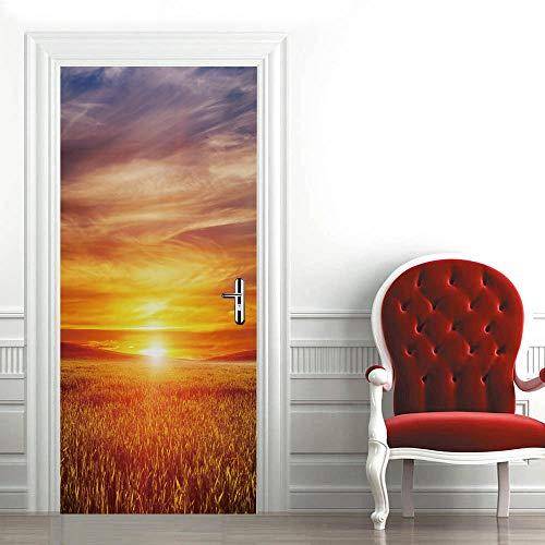 FGHYTR Adhesivo 3D para puerta, póster autoadhesivo de PVC con puesta de sol, 77 x 200 cm, arte decals creativo, papel pintado para puerta, resistente al agua, extraíble, decoración para dormitorio