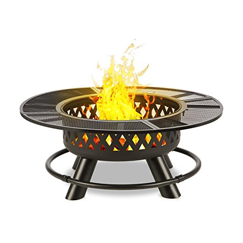 blumfeldt Rosario - 3-in-1 Fire Bowl, Campfire, Swing Grill and Table, 120cm Ø, Fire Bowl 70cm Ø, Table Top, Charcoal or Firewood, Steel, 120 x 47.5 cm (ØxH), Approx. 30 kg, Black