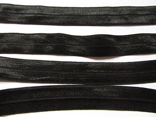 YYCRAFT 1' Fold Over Elastic Stretch Foldover FOE Elastics for Hair Ties Headbands Pack 10 Yards (Black)