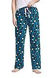 CYZ Women's Fleece Sleep Pajama Pant, Cat Blue, Womens Size: Large