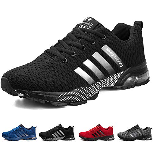 ziitop Men's Running Shoes Lightweight Breathable Air Cushion Sneakers Casual Athletic Walking Shoes for Men Black