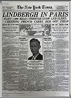 ポスター ピーター リンドバーグ VISIONAIRE(ヴィジョネアー)チャールズ・リンドバーグ NYタイムズ1927年5月22日 額装品 アルミ製ハイグレードフレーム(シルバー)