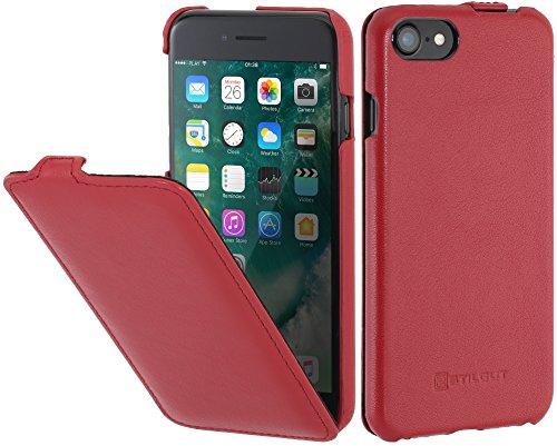 StilGut Leder-Hülle kompatibel mit iPhone SE 2020/iPhone 8/iPhone 7 vertikales Flip-Hülle, Rot Nappa