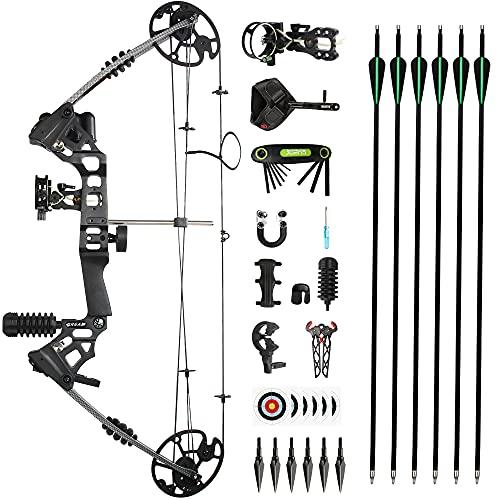 The7boX Compound Bogen und Pfeil Set 20-70 LBS Einstellbare 320 Fps Geschwindigkeit Bogenschießen Kit mit Carbonpfeilen und Zubehör für Erwachsene Jugend Anfänger Jagd und Zielübungen Jagdbogen
