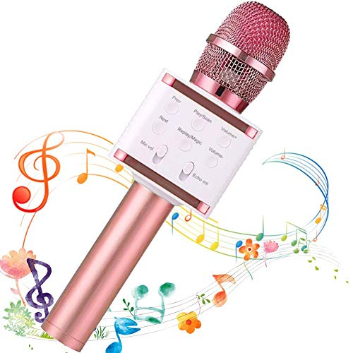 SaponinTree Micrófono Karaoke Bluetooth, 3 en1 Microfono Inalámbrico Karaoke Portátil para Niños Canta Partido Musica Compatible con Android/iOS PC (oro rosa)
