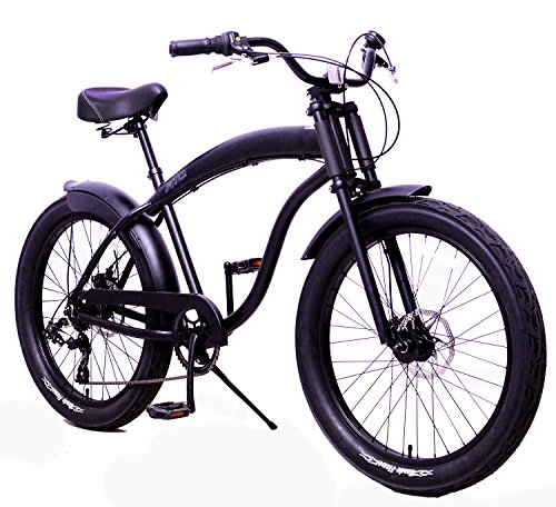 Fito Anti-Rust and Light Weight Aluminum Frame Modena GT-2 Alloy Shimano 7-Speed Shimano Disk Brakes 26' Mens Beach Cruiser Bike Bicycle Matte Black