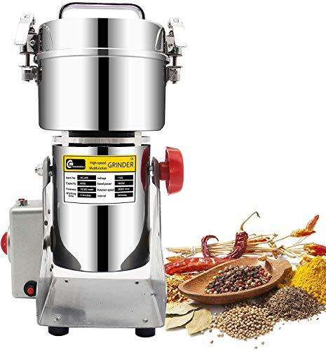 LXDDP Edelstahl-Hochgeschwindigkeits-Getreidemühle Familie Medizinische Getreidemühle Maschinen Gewürz Kräutermühle Getreidemühle Pulverisierer, 110 V / 220 V, 400 g