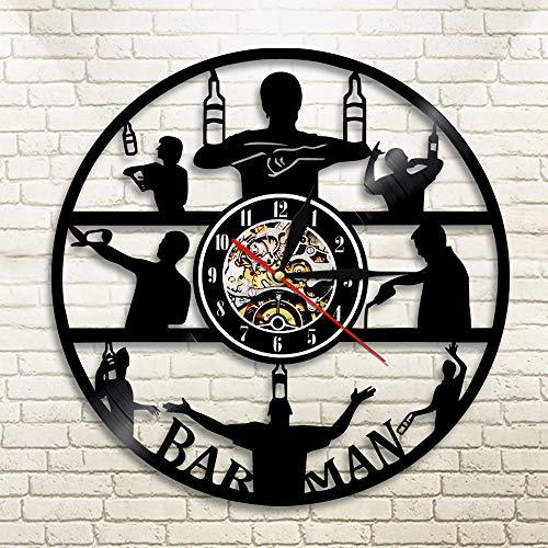 BFMBCHDJ Es ist Zeit zu Trinken Vinyl Schallplatte Wanduhr Barmann Bier Vintage kreative Schwarze hängende Uhr Club Dekor Mann Höhle Taverne mit LED 12 Zoll