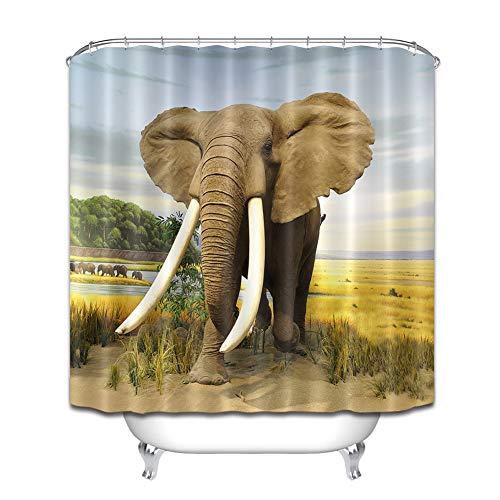 ZZZdz olifant Che zout op Pascolo douchegordijn, 180 x 180 cm, 12 haken Gratuiti. Decoraties voor het huis, 3D-print, HD-druk, gemakkelijk te reinigen, accessoires voor de badkamer.