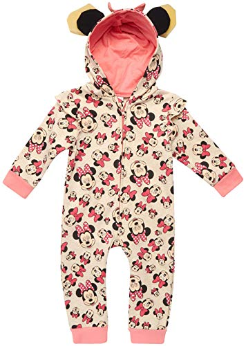 Disney Baby Girls Minnie Mouse One Piece Hooded Footless Romper Jumpsuit (Newborn and Infant), Size 18 Months, Minnie Rose'