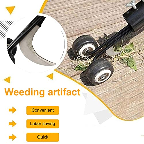 Dandelion Puller Tool, Manual Weeds Snatcher Weeds Snatcher Weeding Tool Sidewalk Weed Puller Snatcher, Wheel Type Weeding Head, Cleaning Garden Tools for Patio Backyard Crack and Crevice Weeding